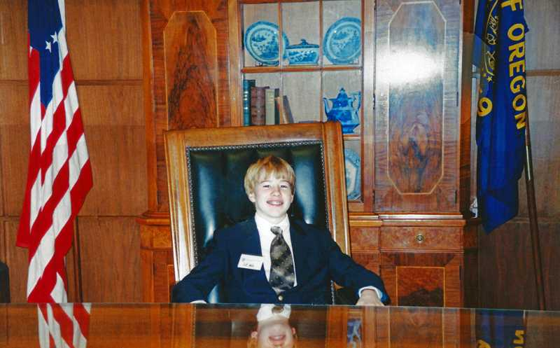 by: SUBMITTED PHOTO - Jeff Wells participated in the Honorary Page for a day program in 2004, even sitting in the governor's chair.