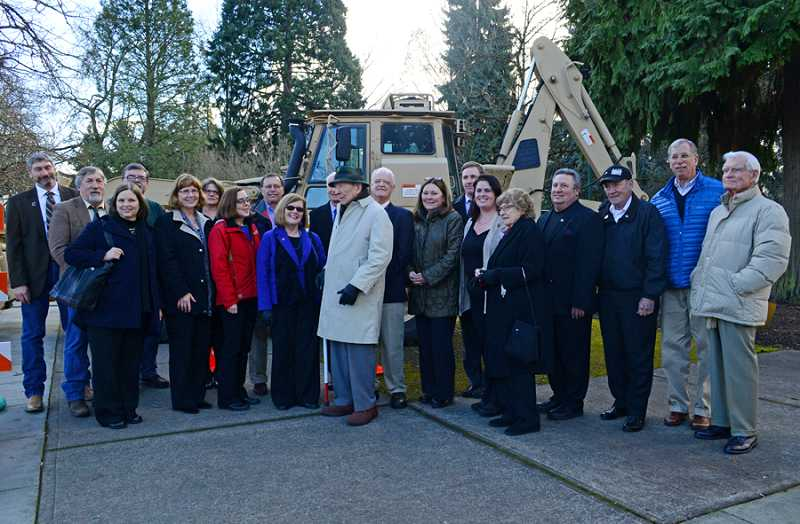 by: SGT. 1ST CLASS APRIL DAVIS/OREGON MILITARY DEPARTMENT PUBLIC AFFAIRS  - BIG KICK-OFF - The onsite construction of Oregon's World War II Memorial started Feb. 3 at Willson Park on the grounds of the state Capitol on the corner of Cottage and State streets in Salem. An informal gathering of supporters took place at the construction site to celebrate the milestone. In attendance were Lou Jaffe, president of the World War II Memorial Foundation, along with a number of the foundation's board members, Oregon state legislators, WWII veterans, including Leonard DeWitt and Tom Kay, and Oregon Department of Veterans Affairs Director Cameron Smith and former ODVA director Jim Willis.