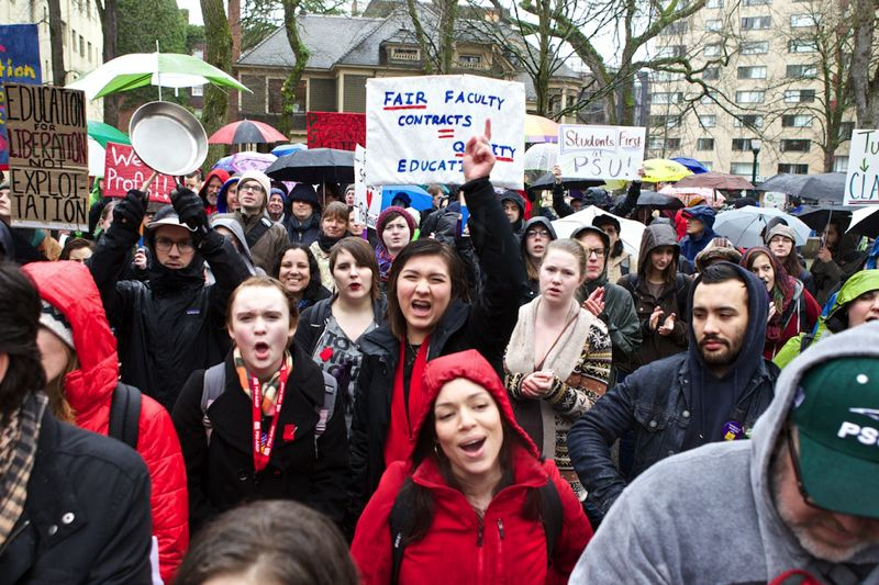 by: TRIBUNE PHOTO: JAIME VALDEZ - PSU students joined a faculty union rally Thursday on the Park Blocks on campus. The faculty union declared an impasse Monday in labor contract talks with the PSU administration.