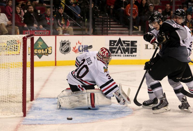 by: TRIBUNE PHOTO: JONATHAN HOUSE - Corbin Boes, from Saskatoon, Saskatchewan, is 12-1-0-1 in 14 games with the Portland Winterhawks since the club acquired him on Jan. 9 to back up regular starter Brendan Burke.