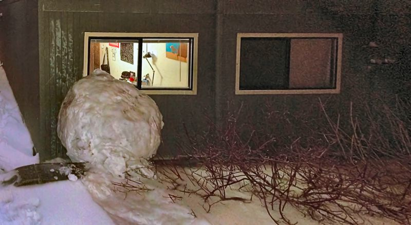 by: PHOTO COURTESY OF REED COLLEGE - The huge snowball came to a hard stop against the wall of an dormitory room on the Reed College campus.