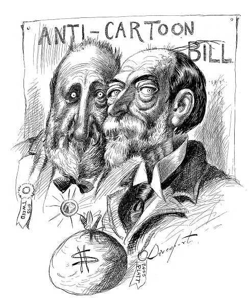 by: SUBMITTED - This cartoon was captioned 'No honest man need fear cartoons' and references the 1897 proposed New York state law designed to prohibit political cartoons. It failed. It originally appeared in Hearsts New York Journal in 1897 and in Davenports 1898 collection of cartoons. Boss Tweed was a Tammany Hall Democratic doss taken down by Davenports mentor, Thomas Nast, 20 years earlier. Boss Platt is U.S. Sen. Thomas Platt, (R-New York) who encouraged the bill and was a constant target of Davenports pen.