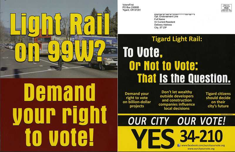 Mailers like this one have been going out this week to homes across Tigard, but opponents say the message is misleading, since the proposed transit line would not go down Pacific Highway.