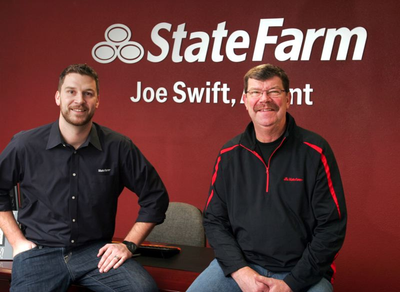 by: OUTLOOK PHOTO: JIM CLARK - Joe Swift (left) became the family's third generation to represent State Farm after opening his own agency in January. His father, Pat, has had offices in Gresham since 1993 and worked with his dad, Don, who ran a downtown agency for 25 years.