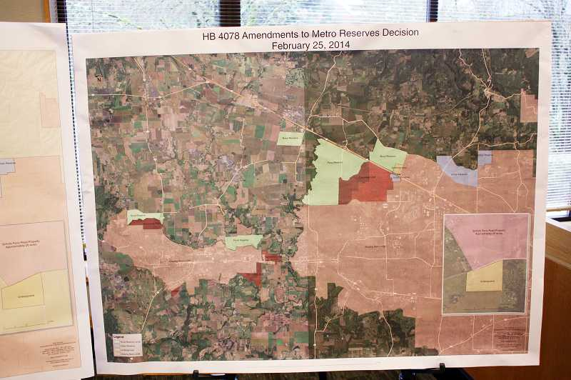 by: NEWS-TIMES PHOTO: DOUG BURKHARDT - Maps showing proposed new urban growth boundaries and land use zones were on display Feb. 27 in the House Rules Committee hearing room in the capitol building.