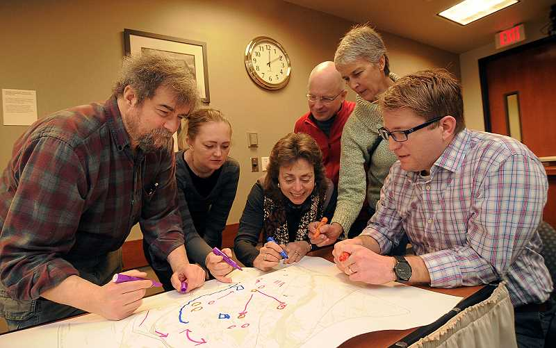 by: TIDINGS PHOTO: VERN UYETAKE - From left, Glen Friedman, Nicole Alexander, Tamara Gilbert, Bill Hohensee, Lisa Clifton and Zach Pelz prepare for the first community workshop March 15.