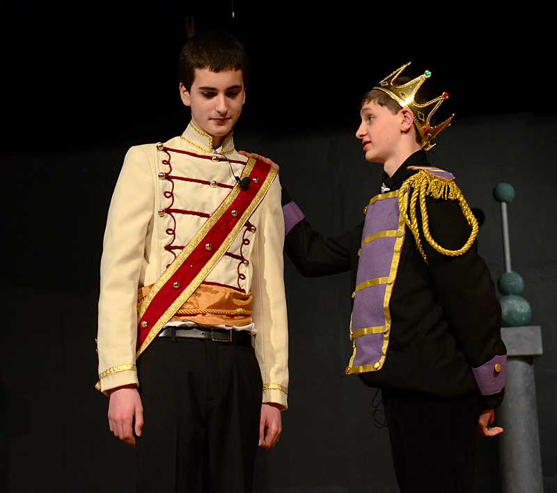 by: REVIEW PHOTO: VERN UYETAKE - Rodgers and Hammersteins Cinderella features different music than the Disney version. (RIGHT) LOJs rendition has two casts, and Andrew Steeber, left, plays the prince and Mason Mann  is the king in the purple cast.