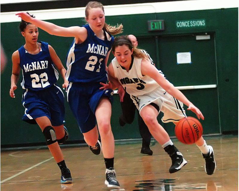 by: DAN BROOD - LEANING IN -- Tigard senior guard Emilee Cincotta (right) battles her way up court against McNary sophomore Madi Hingston.