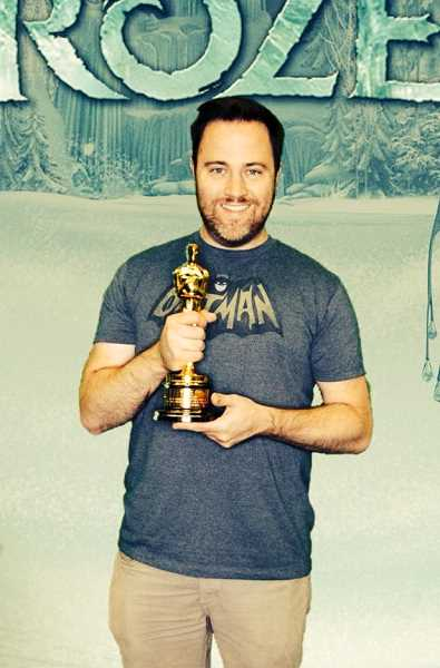 by: CONTRIBUTED PHOTO - Kevin MacLean poses with the Oscar for Disneys animated feature, Frozen.