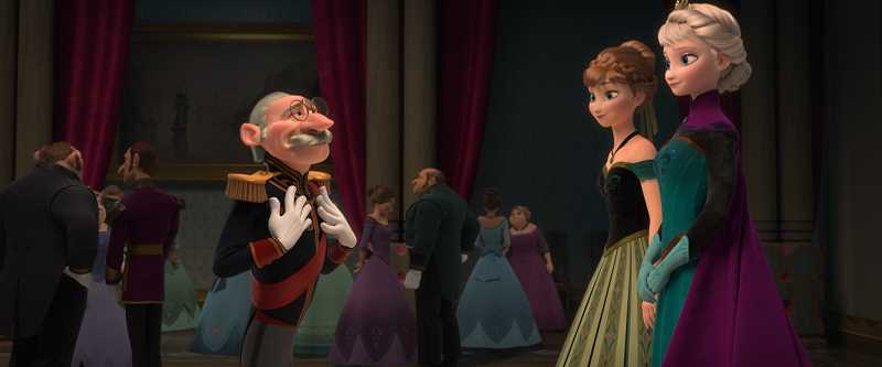 by: CONTRIBUTED PHOTO - The Duke of Weselton introduces himself to princess sisters Anna and Elsa at the the coronation ball in one of the shots MacLean animated for Frozen.