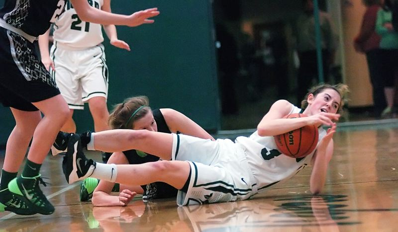 by: DAN BROOD - HEADS-UP PLAY -- Tigard senior Emilee Cincotta calls time out after making a diving steal in the state playoff win over Jesuit.