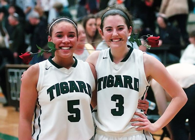 by: DAN BROOD - TOURNEY VETERANS -- Tigard seniors Lexi Carter (left) and Emilee Cincotta will each be playing at the Class 6A state tournament for the third time.