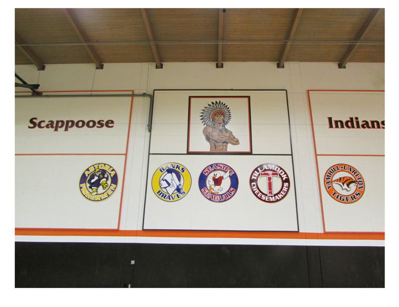 by: FILE PHOTO - The Scappoose High School Indians Mascot on the wall of the SHS gymnasium. Scappoose School District Superintendent Stephen Jupe said the district may need to make changes to the image to more accurately represent local Native tribes.