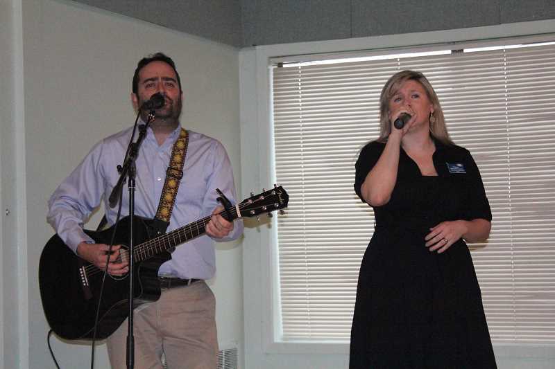 by: LINDSAY KEEFER - Tiffany Kuenzi and John Hassler serenaded the audience at the 34th annual Mayor's Prayer Breakfast March 4, preceding guest speaker Randy Traeger.