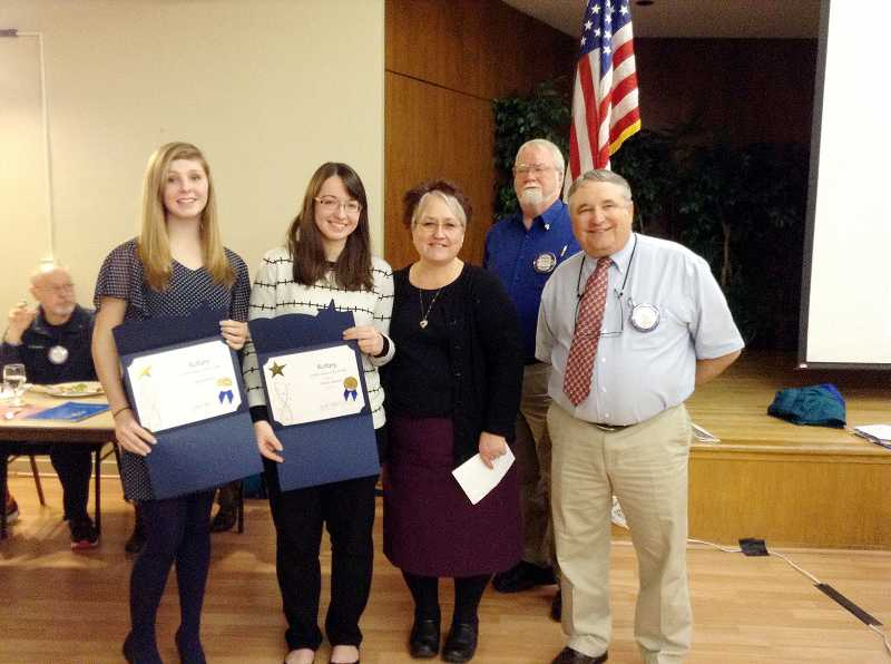 by: COURTESY PHOTO: FOREST GROVE ROTARY CLUB - February students of the month Taylor Bassell (left) and Amber Meeks stand with Gaston Junior/Senior High Principal Susy McKenzie, Forest Grove Rotary Club President Chuck Pritchard and Gaston School District Superintendent David Beasley.