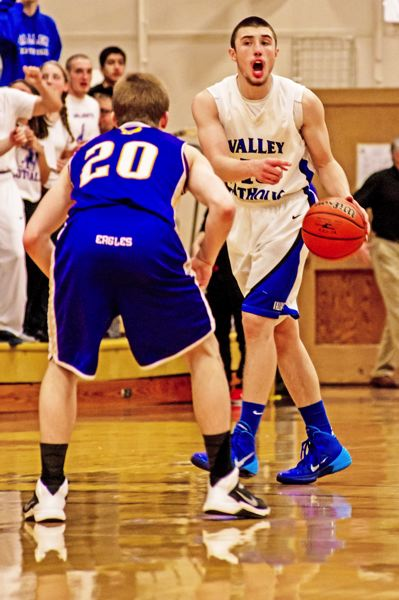 by: TIMES PHOTO: JOE CRAMER - Valley Catholic senior point guard Jarrett Gray, left, and Valiant post Gabe Taylor, right were both named to the 3A state tournament's first-team for the state champion Valiants.