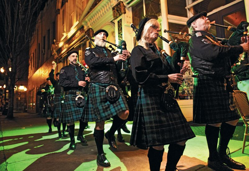 by: TRIBUNE PHOTO: JAIME VALDEZ - Kells Irish Pipes and Drums perform the second and fourth Saturday of each month at the popular downtown pub in Portland. Kells plays host to the largest St. Patricks Day party.