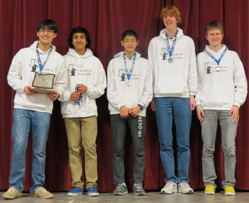 by: SUBMITTED PHOTO: BRENDON THRASH - The members of Lake Oswego Highs award-winning chess team are, from left: Daniel Seitz, Pranav Sharan, Lyman Shen, Patrick Butenhoff and Yuriy Kamsha.