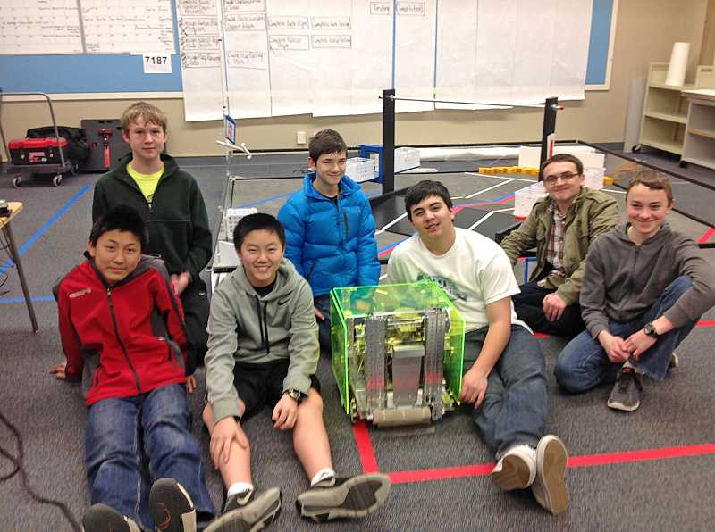by: SUBMITTED PHOTO - Team Axis members are, from left: front row:  Peter Liu, Max Chu, Colin Mitchell and Jackson Friess; back row: A.J. Rise, Reed Slobodin and Nic Quattromani.