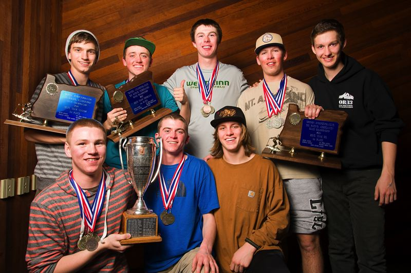 West Linn's boys ski team captured the state title for the fourth year in a row. The team is, front row from left: Trevor Maxwell, state champion in the giant slalom, Grant McDonald and Dylan Tuor. Back row: Colin Maxwell, Jordan Riesterer, Chris McNabb, Kyle Larson and Carson Pike.