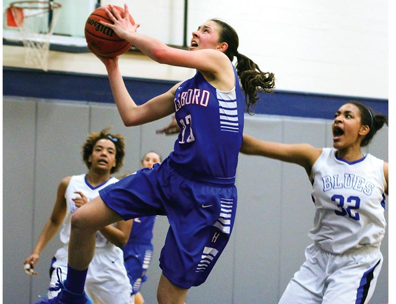 by: HILLSBORO TRIBUNE PHOTO: CHASE ALLGOOD - Hillsboro freshman Makenna Gambee drives to the basket during last Friday's Class 6A state playoff game against St. Mary's Academy.