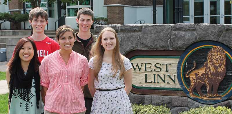by: FILE PHOTO - Five West Linn seniors are National Merit Finalists this year. From left, back row, Hunter Bosson and Logan Spear; front row, Sarah Chung, Priyanka Basak and Michaela Laughlin.