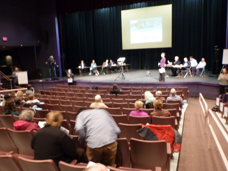 by: TRIBUNE PHOTO: STEVE LAW - A relatively small crowd showed up Wednesday night at Parkrose High School to discuss Portland's water and sewer rates.