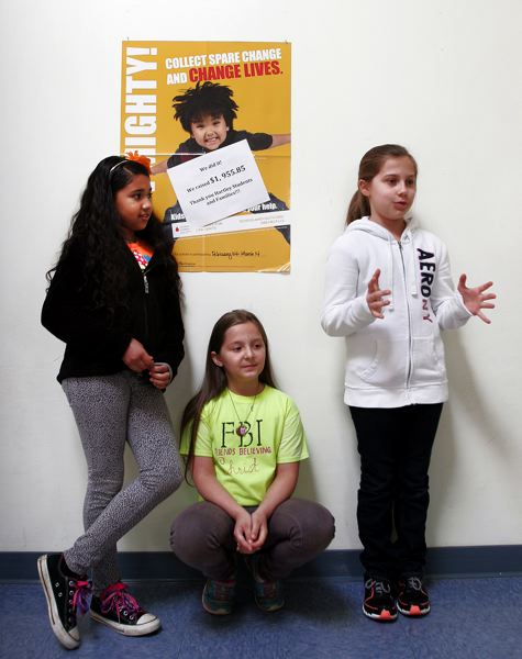 by: OUTLOOK PHOTO: JIM CLARK - Third-graders Naima Munye, 8, Oksana Garrilovich, 9, and Regina Puzar, 9, helped Hartley Elementary School almost quadruple its fundraising efforts for The Leukemia and Lymphoma Society.