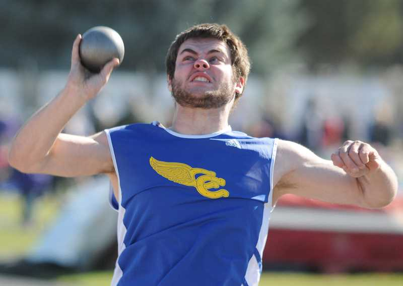 by: LON AUSTIN/CENTRAL OREGONIAN - Zach Smith heaves the shot put 43-02 to take first place in the event at the Icebreaker Invitational, which was held in Prineville on Wednesday.