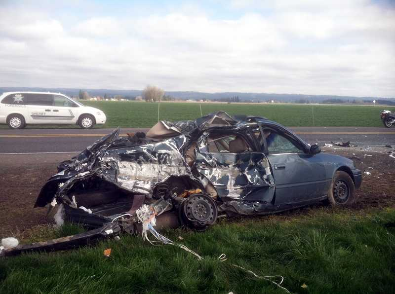 by: COURTESY PHOTO: WASHINGTON COUNTY SHERIFFS OFFICE - Paul David Suryan of Forest Grove died March 18 when he lost control of this Toyota Camry on Northwest Zion Church Road and collided with a Peterbilt semi-truck.