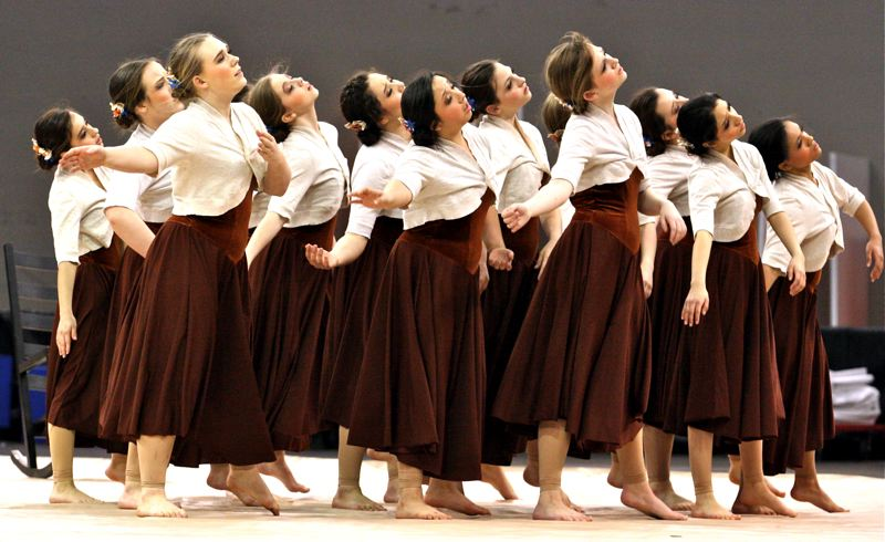 by: OUTLOOK PHOTO: BRIAN MONIHAN - Reynolds High Dance and Drill team place ninth in the small schools category at the recent OSAA 2014 State Dance and Drill competition.