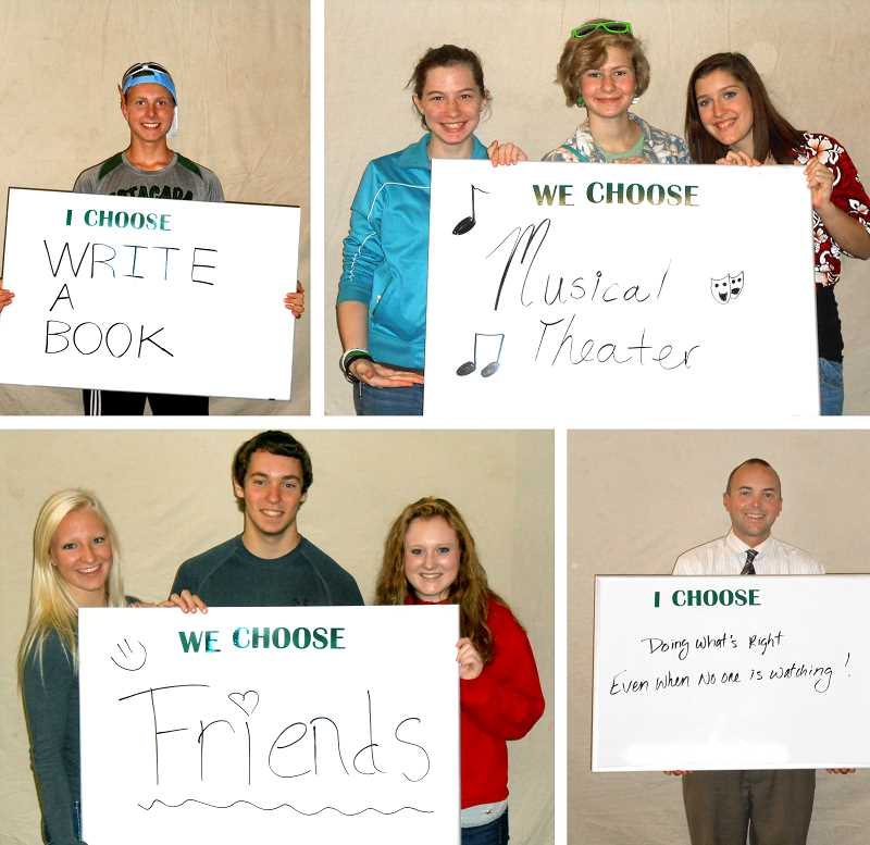 by: CONTRIBUTED - In October, Above The Influence and DEFY organized Estacada High School's participation in an 'I Choose' campaign in which students and staff were photographed with white boards on which theyd written what they choose to do instead of drugs.