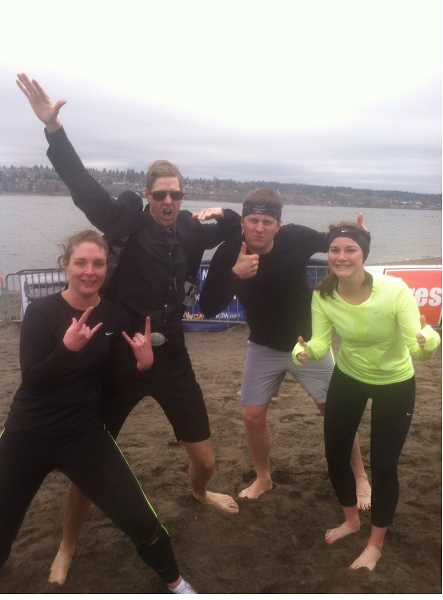 by: SUBMITTED PHOTO - From left, Leann Gallien, Steven Walsh, Cameron Bray and Sara Bray celebrate after their polar plunge March 1.