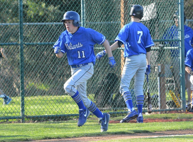 by: TIMES PHOTO: MATT SINGLEDECKER - Valley Catholic freshman Aidan Welsh, right,  is one of many speedy Valiants on the diamond this season seeking to take the extra bag and push the pace.