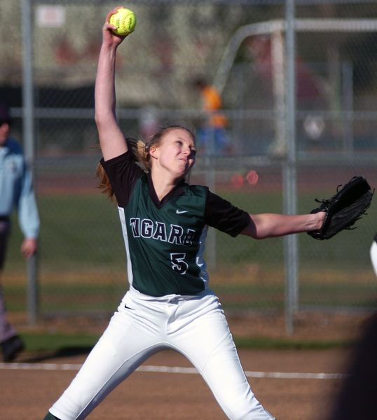 by: DAN BROOD - FAB FROSH -- Tigard High School freshman Kaitlyn Nunn gets ready to fire a pitch to the plate in the Tigers' game with Grant on Friday. Nunn no-hit the Generals over four innings in Tigard's 14-0 victory.