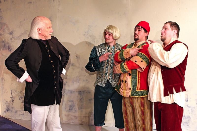 by: CONTRIBUTED PHOTO BY ROGER NELSON - From left: Malvolio (Curt Hanson), Sir Andrew Aguecheek (Christopher Botcheos lV), Feste the Clown (Patrick Roth) and Sir Toby Belch (Arran Hersey) all visit Sandy this month to tell the tale of Twelfth Night, which opens April 4.