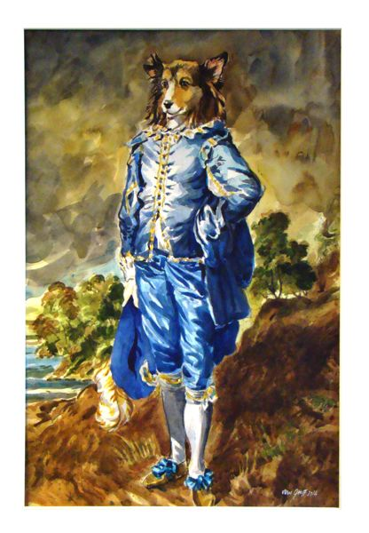by: CONTRIBUTED PHOTO - Vernon Groffs Dog in Blue pokes fun at Thomas Gainsboroughs famous 1770 painting The Blue Boy. Groffs painting is part of the Wyeast Artisans Guild exhibit in Sandy this month.