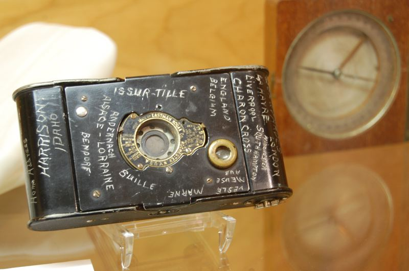 by: PHOTO COURTESY: CCHS - A World War I soldier's Kodak camera, with knife-etched record of travels and military engagements, is on display at the Stevens-Crawford Heritage House museum.