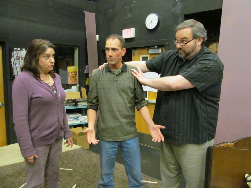 by: PHOTO BY DICK TRTEK - Director Tony Bump, far right, works with Debra Hudkins and Kraig Williams, during a recent rehearsal of 'Lend Me a Tenor.'