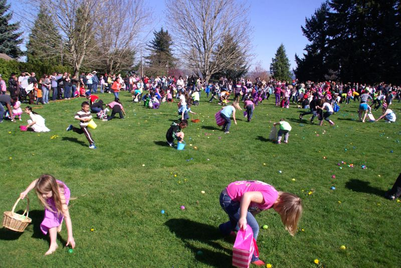by: OUTLOOK FILE PHOTO - Easter egg hunts such as Wood Villages 26th annual 'Eggslosion' are a popular spring tradition, drawing participants from throughout the region.