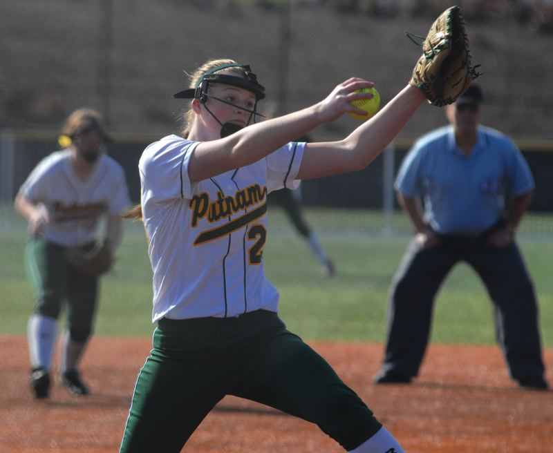by: DAVID BALL - Putnam freshman Sarah Abramson works her windup in the Kingsmens 10-5 win over Beaverton.