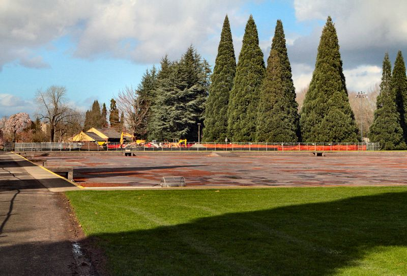 by: DAVID F. ASHTON - The Westmoreland Park Casting Pond, drained for spring maintenance, may indeed be refilled by June - but current construction work has cancelled the Portland Rose Festival Milk Carton Boat Races this year.