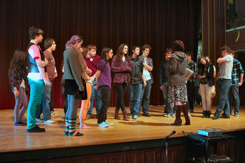 by: DAVID F. ASHTON - Franklin High student actors gather before they rehearse a group dance number from their early April musical, The Sound of Music.