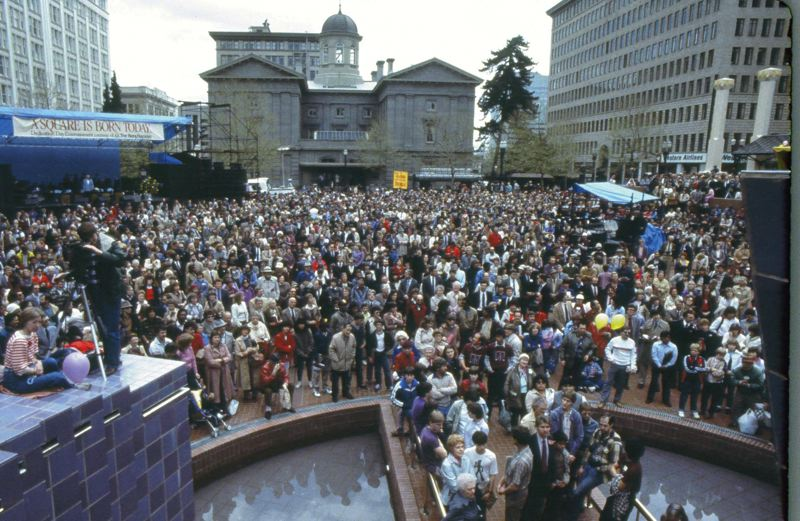 by: PHOTOS COURTESY OF PIONEER COURTHOUSE SQUARE - Pioneer Courthouse Square, which turns 30 years old on April 6, has seen its share of activities throughout the years, way beyond people sitting there in the sunshine eating lunch.