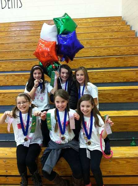 by: SUBMITTED PHOTO - The Pink Piggies, who are competing at state in Destination Imagination, include Westridge Elementary School students, from left, back row to front row: Abby Mendoza, Shelby Lofton, Reese Cagann,  Clarissa Snaadt, Avery Jett and Sofia Corso.