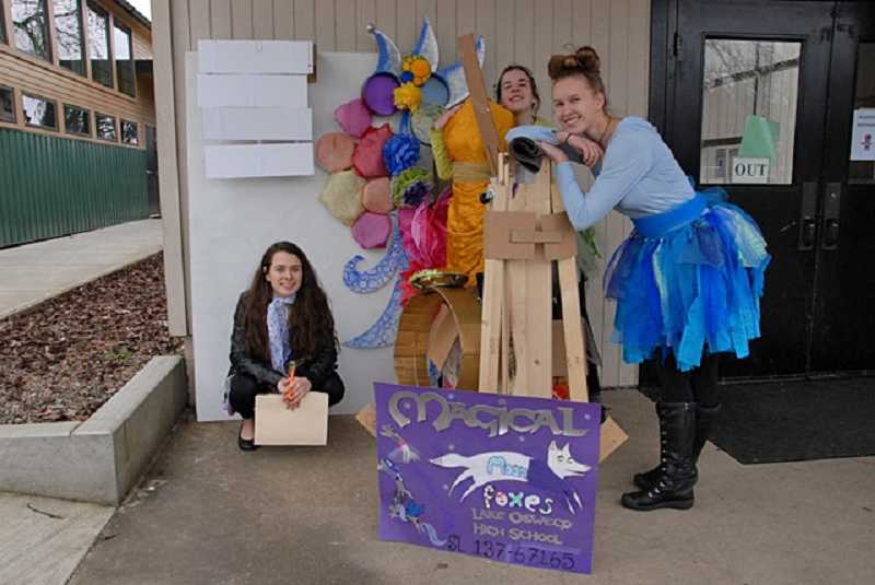 by: SUBMITTED PHOTO - The Magical Moonfoxes of Lake Oswego High School are heading to the state Destination Imagination tourney, from left: Elise Kronquist, Alena Madin and Rachel Rise.