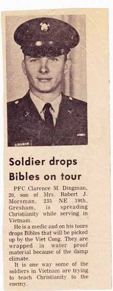 by: CONTRIBUTED PHOTO - In Sept. 1969, the Gresham Outlook featured an article about Michael Dingman spreading the Christian word while in Vietnam.