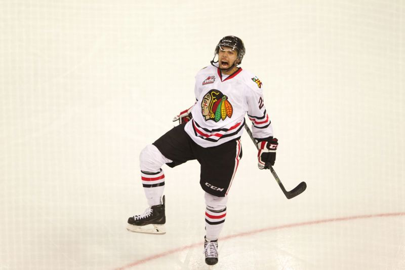 Winterhawks defender Mathew Dumba reacts after scoring the fifth goal in Portland's 8-2 victory over Victoria.