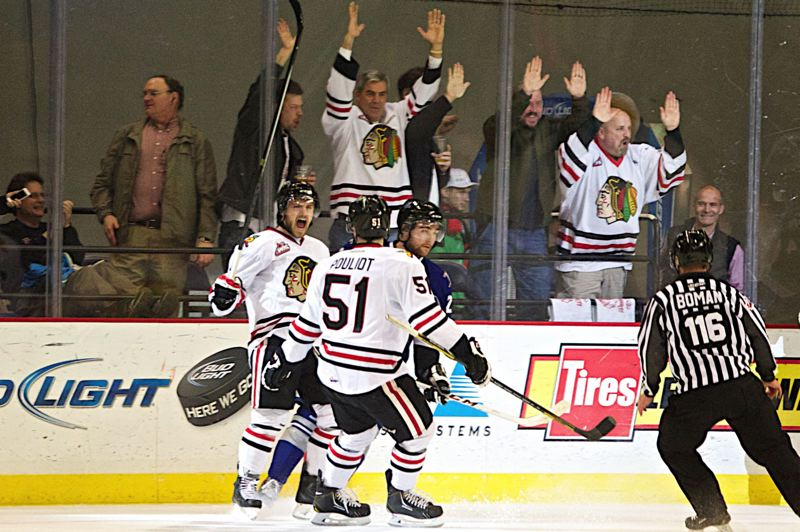 Chase De Leo of the Winterhawks enjoys scoring the first goal in his team's 8-2 victory in Game 1 of the WHL Western Conference semifinal series.