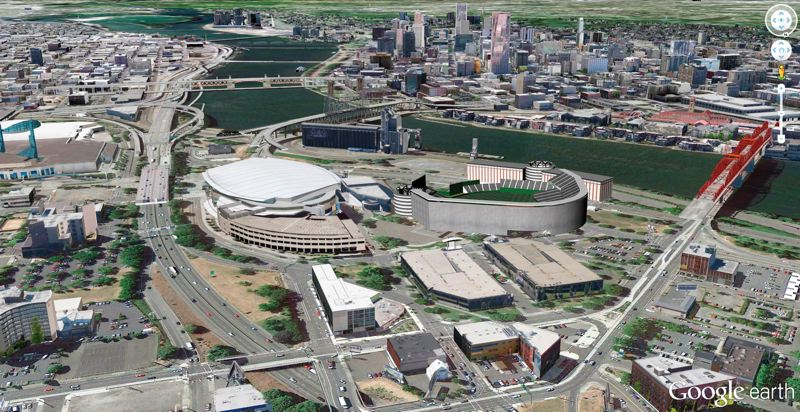 by: COURTESY OF BARRY SMITH - An architect's rendering shows how a 38,000-seat Major League Baseball stadium might fit into the Rose Quarter.